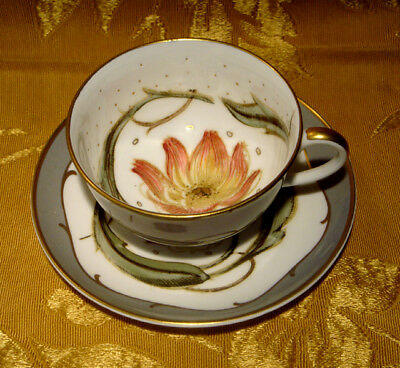 Susie Cooper Gray Cup & Saucer Tiger Lily  Design Gold Trimmed