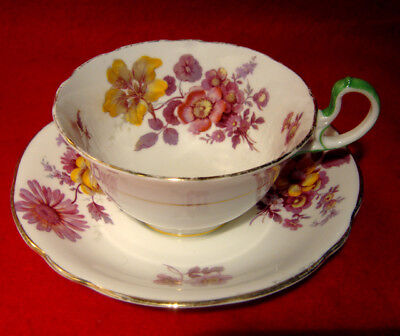 Vintage Aynsley Floral Roses Cup & Saucer Green Handle Made In England