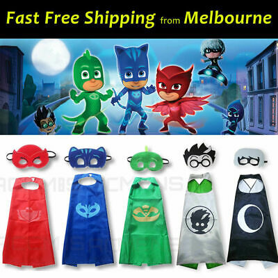 Kids PJ Masks Cape Set Superhero Costume Gekko Owlette Catboy Romeo Luna Girl