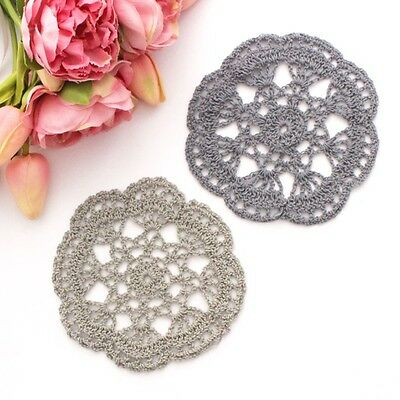 Crochet doilies grey and dark grey 14-15cm for millinery and crafts