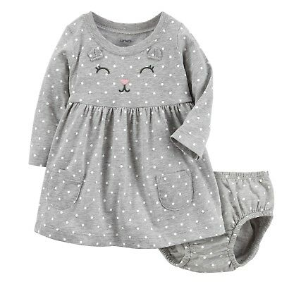 Carters Long Sleeve Cotton Polka Dot Kitty Dress Baby Girls 9 & 12 Months NWT