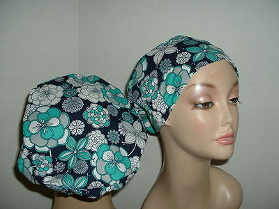Mod Flowers Teal Gray Navy European Euro OR Surgical Scrub hat CRNA CNOR CORT