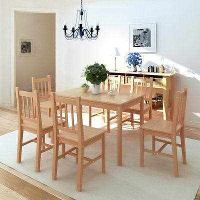 7 Piece 1 Dining Table and 6 Chairs Set Kitchen Home Furniture Modern Pinewood