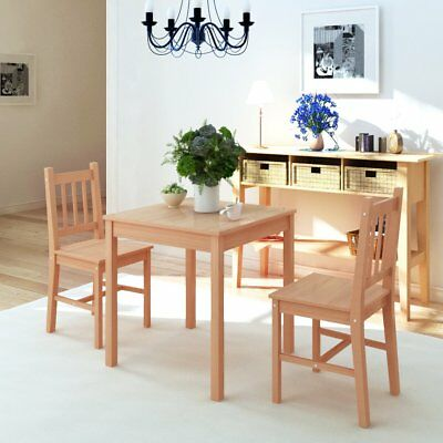 3 Piece 1 Dining Table and 2 Chairs Set Kitchen Home Furniture Modern Pinewood