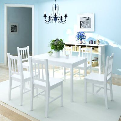 7 Piece Dining 1 Table and 6 Chairs Set Kitchen Home Furniture Pinewood White