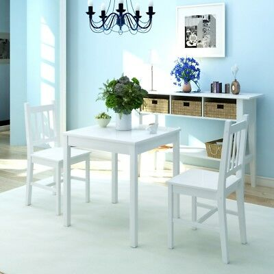 3 Piece 1 Dining Table and 2 Chairs Set Kitchen Home Furniture Pinewood White