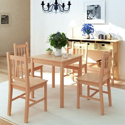 5 Piece 1 Dining Table and 4 Chairs Set Kitchen Home Furniture Modern Pinewood