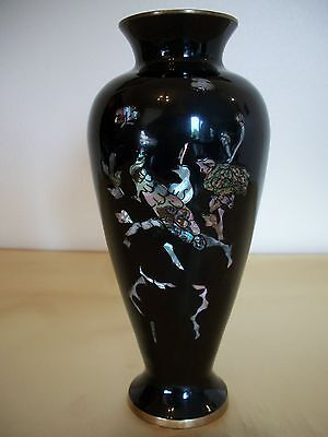 Vintage Korea Black Enamel Over Brass Mother of Pearl Vase 7""
