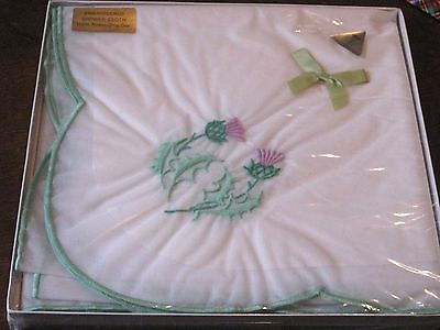 Antique/Vintage BOXED Embroider THISTLE SHOWER CLOTH-Nylon Drip Dry-43x43-UNUSED