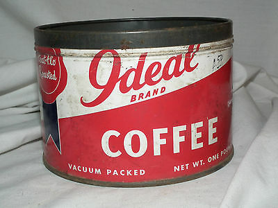 VINTAGE IDEAL BRAND 1 lb. COFFEE TIN AMERICAN STORES CO.