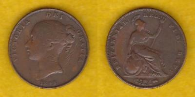 Great Britain Copper Penny 1843 Victoria Quite Scarce  ---  Gben