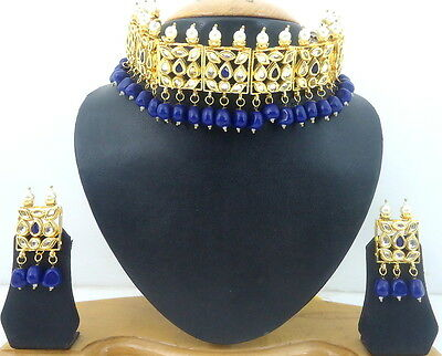 Blue Kundan Pearl Gold Tone Choker Necklace Set 3 Pcs Nizam Hyderabadi Jewelry