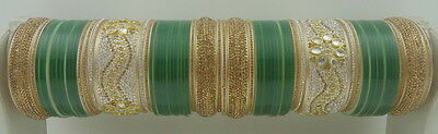 Indian Traditional Green Lct Bridal Dulhan Choora Chura Bangles Wedding Jewelry