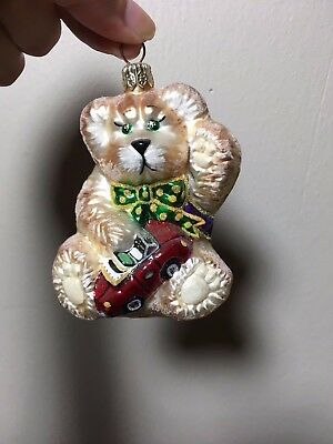 Slavic Treasures Teddy Bear Small -Hand Blown & Painted Glass Christmas Ornament