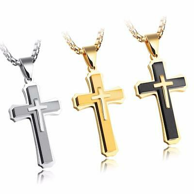 Mens Stainless Steel Cross Pendant Lord's Prayer Rolo Necklace Gold Silver Black