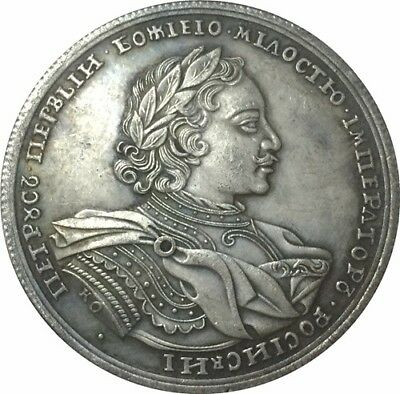 1719 Peter I Russia Polushka Kopek Coin Coins Copper Old Colectionar Antique