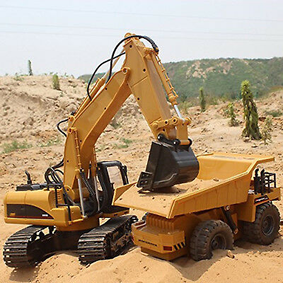15 CH 2.4G Pro Functional RC Excavator + 1:18 6 CH Dump Truck + Remote Control