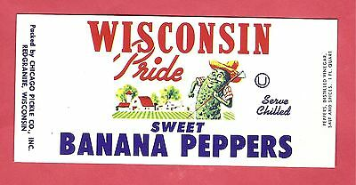 Vintage Colorful WISCONSIN PRIDE Sweet Banana Peppers Label Redgranite Wisconsin