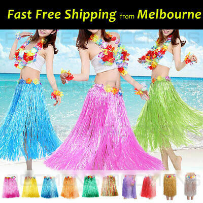 80cm Long Hawaiian Hula Grass Skirt Lei Sets Bra Beach Costume Party Dance Fancy
