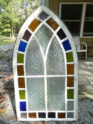 Vintage Colored Stained Glass Arched Church Window