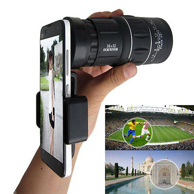 16x52 Zoom Hiking Dual Focus Monocular Telescope 66M/8000M Phone Holder Pouch