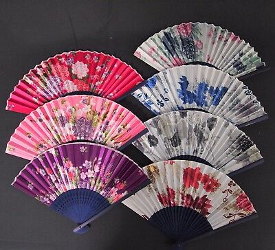 Chinese Handheld Fan - Silk Bamboo Rib Folding 7 Flower Design Handy Portable