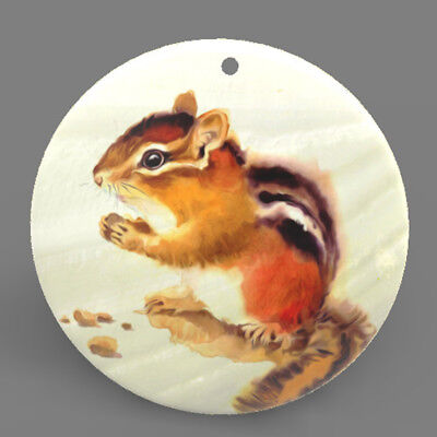 Mother of Pearl Shell Squirrel Color Printing Pendant Necklace J1705 0413
