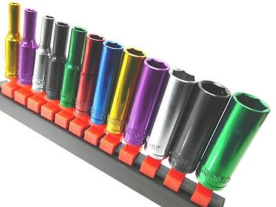 "Multi Coloured Socket Set 1/4"" Deep 12pc Kit 6pt 4 -13mm Cr-v Steel"