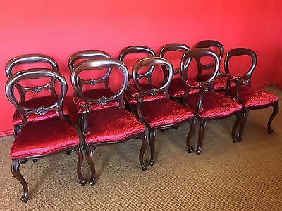 Stunning Set 10 Victorian Style Balloon Back Mahogany Chairs French Polished.