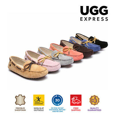 UGG Ladies Summer Lace Moccasins Loafer,rubber sole,indoor/outdoor flat shoes