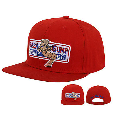 Bubba Gump Shrimp Hat Forrest Gump Costume Embroidered Snapback Cap Red Great
