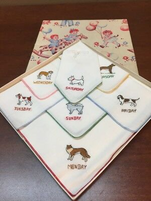 Vintage Embroidered Handkerchiefs Dog Theme Days Of The Week