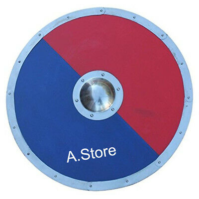 30'' Medieval Blue And Red Wood Replica Shield