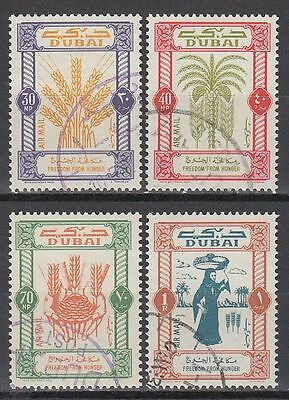 Dubai 1963 Mi.50/53 fine used c.t.o. Kampf gegen Hunger Freedom from hunger