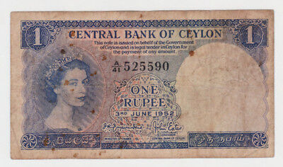 Ceylon 1 Rupee Banknote 1952 Ungraded Well Circulated s/n A/41 525590