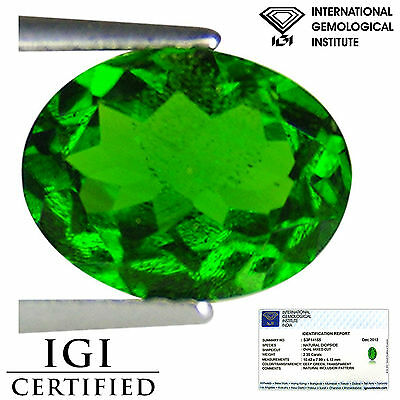 2.35 Ct IGI Certified Natural Chrome Diopside Electric Green Color Oval Cut