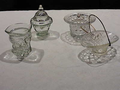 Avon Clear Glass Baskets X 2, Lidded Urn And Toby Jug (4 Pieces In All)