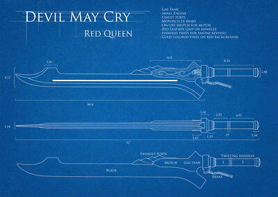 """011 Blueprint -Devil May Cry 4 red_queen Action TV Game19""""x14"""" Poster"""