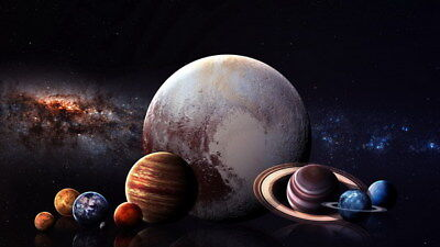 """009 Solar System - The Sun Planets Moons Comets Meteors 24""""x14"""" Poster"""