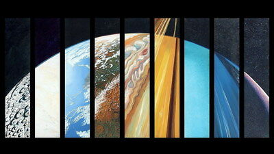 """010 Solar System - The Sun Planets Moons Comets Meteors 24""""x14"""" Poster"""