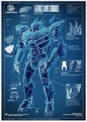 "017 Blueprint - Pacific Rim Jaeger  StrikerEureka 24""x33"" Poster"