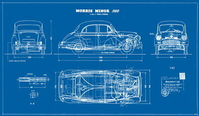 "032 Blueprint - Morris Minor Classic Car 41""x24"" Poster"