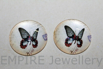 1 x Pretty Vintage Butterfly 25x25mm Glass Dome Cabochon Cameo Insect