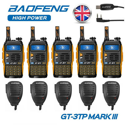 UK 5x Baofeng GT-3TP MKIII + 5x Speaker Mic + Cable VHF/UHF 1/4/8W Walkie Talkie