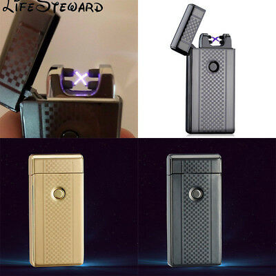 Gold/Black Metal Rechargeable Lighter Windproof Dual Arc Flameless Lighter New