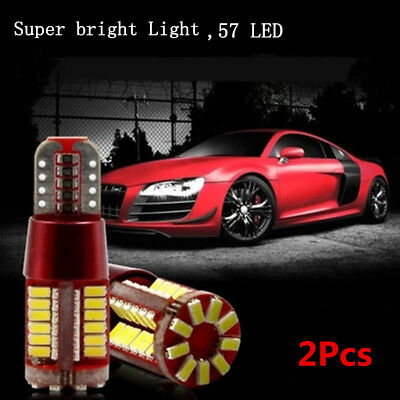 2Pcs T10 501 194 W5W 3014 LED 57-SMD Car Canbus Wedge Light Bulb Lamp White New