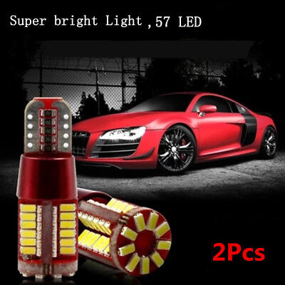 2Pcs T10 501 194 W5W 3014 LED 57-SMD Car Canbus Wedge Light Bulb Lamp White hot