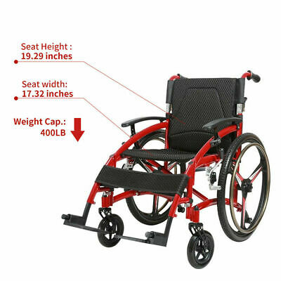 "New 24"" Sports Athletic Wheelchair Foldable Aluminum alloy Lightweigt Trolley"