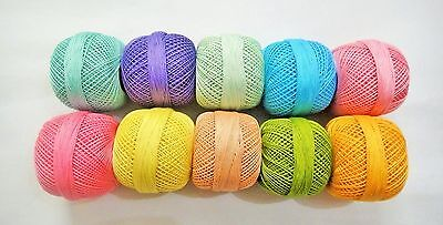 Lot of 10 Colors- Cotton Yarn - Tatting Thread -Crochet Lace Knitting Embroidery