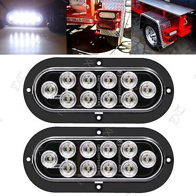 2x White Tail Marker Light Flange Mount 10LED Screw Oval Stop Turn Brake 12V-24V